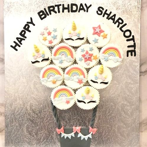 Hot Air Balloon Unicorn Rainbow Themed Cupcakes