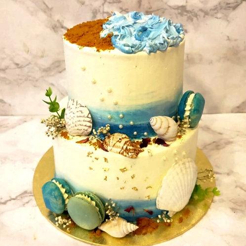 Ocean Blue Two Tier Cake