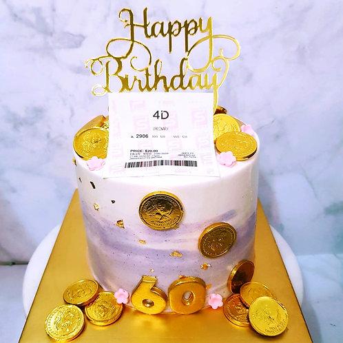 4D Purple Money Pulling Cake