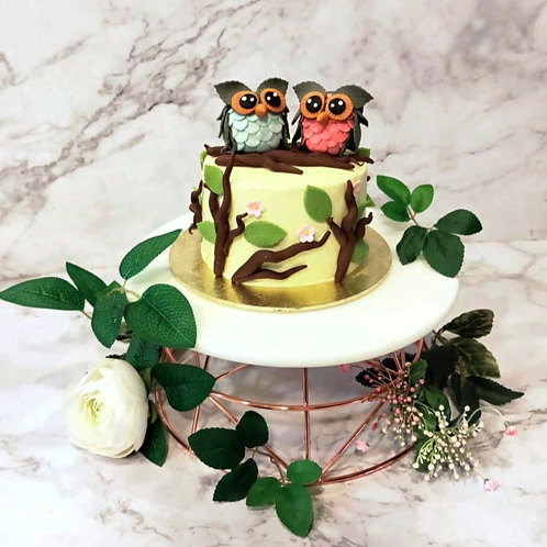 Cute Couple Owl Forest Cake