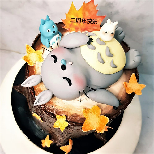 Sleeping Totoro And His Friends On Tree Trunk Autumn Themed Cake