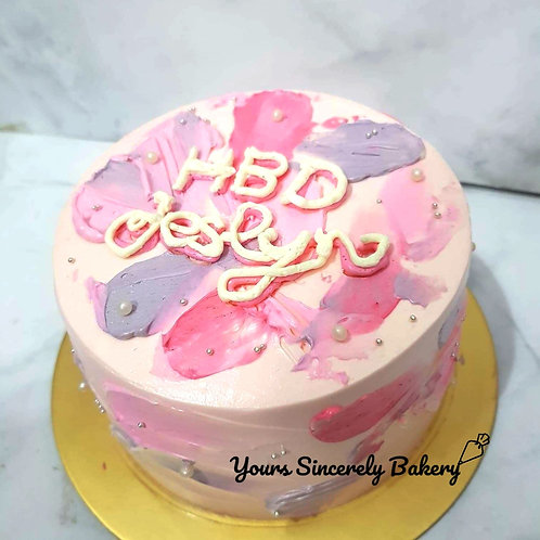 Pink And Purple Watercolor Cream Name Piping Simple Cake