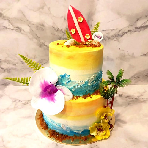 Hawaiian Beach Themed Cake