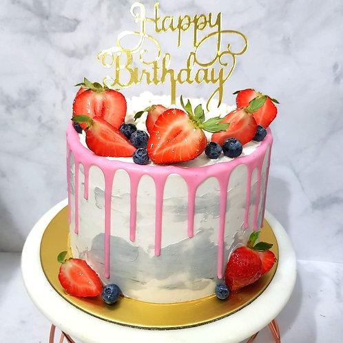 Berries Pink Drip Marble Money Pulling Cake