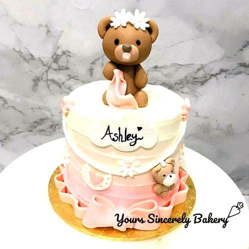 Baby Teddy Bear Pastel Pink Cake
