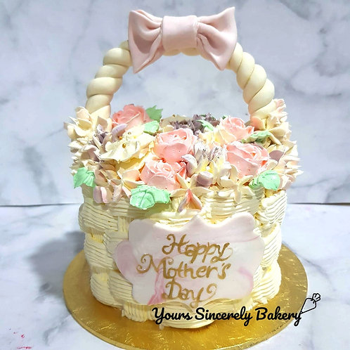 Basket of cream flowers floral mother day cake