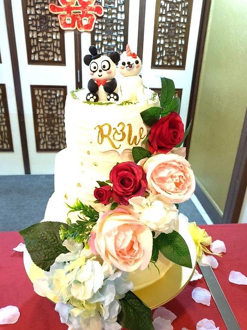 Cute Panda & Seal Floral Three Tier Wedding Cake