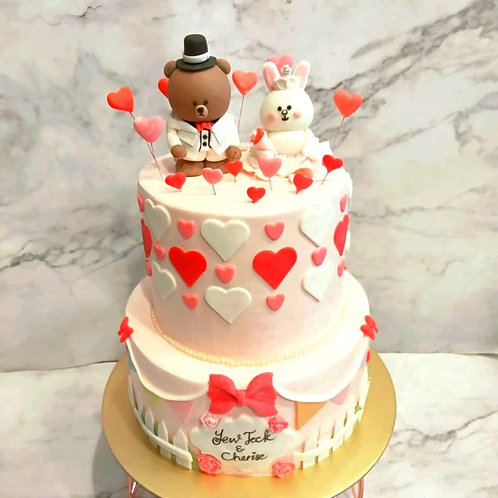 Line Brown Bear And Cony Rabbit Wedding Themed Cake