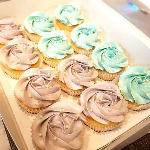Pastel Blue & Purple Rosette Cupcakes