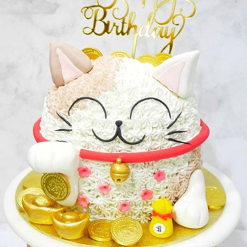 Fortune Cat Money Pulling Cake