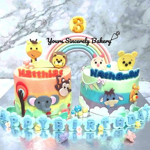 Animal & Winnie The Pooh Themed Twin Rainbow Cake