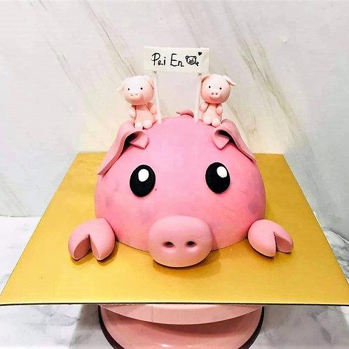Pig Knock Knock Pinata Surprise Cake