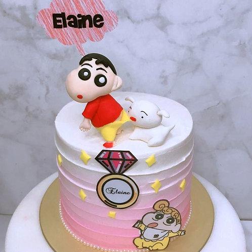 Crayon Shin Chan La Bi Xiao Xin Xiao Bai Xiao Kui Pink Ombre Themed Cake