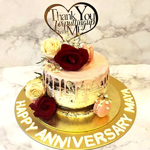 Anniversary Floral Rose Drip Naked Cake