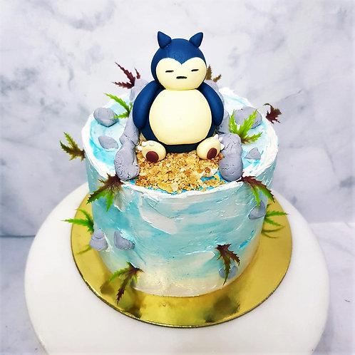 Fat Snorlax Blocking Bridge Themed Cake