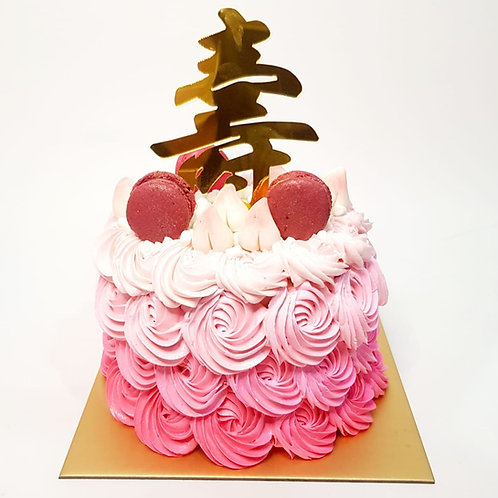 Rosette Ombre Pink Cream with Macarons And Longevity Buns Money Pulling Cake