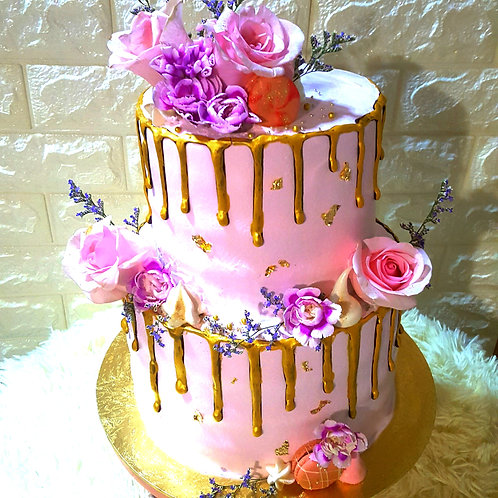 Rose Gold Floral Drip Two Tier Cake