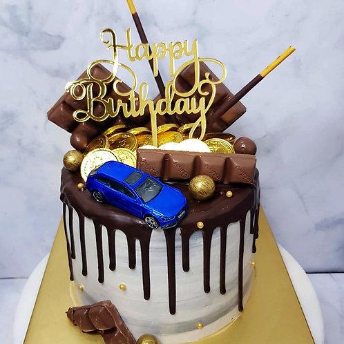 Toy Car Chocolate Drip Cake