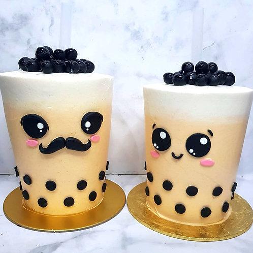 Drinkable Couple Bubble Tea Cakes