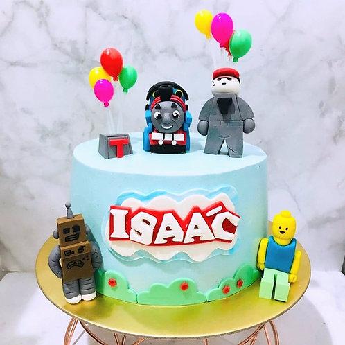 Thomas The Train Roblox and Lego Balloon Party Cake