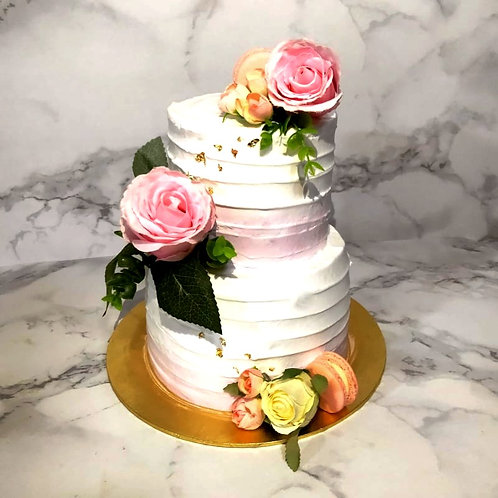 Two tier Rose Flower White Gold Blush Pink Cake