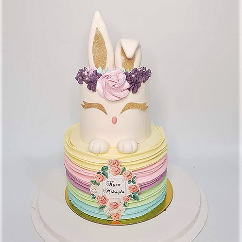 Two Tier Pastel Floral Bunny Cake