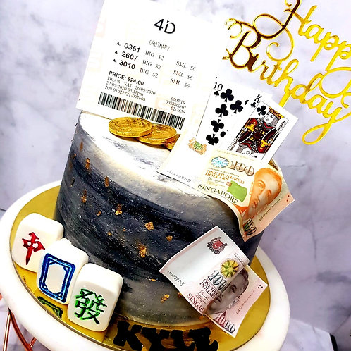 Black Marble 4D Poker Mahjong Money Pulling Cake