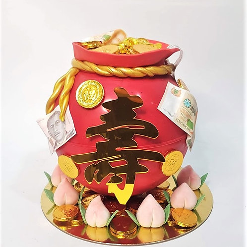 Red Money Bag Knock Knock Pinata Surprise Cake