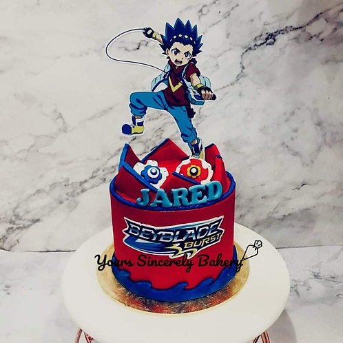 Beyblade Red & Blue Themed Cake