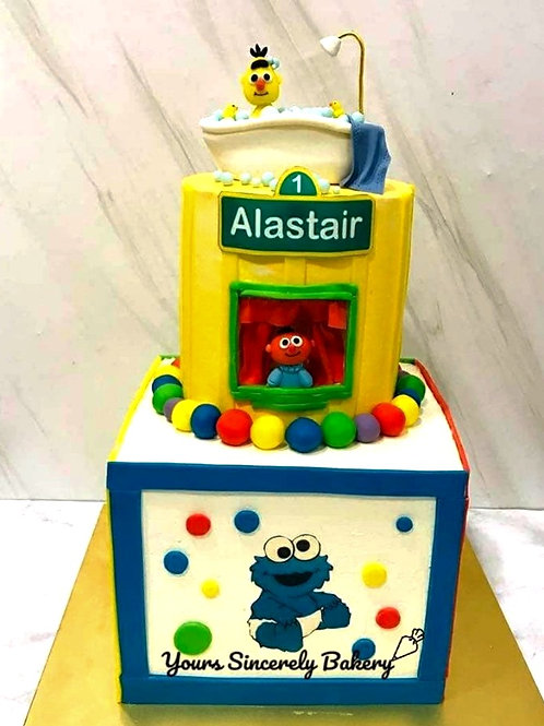Elmo Cookie Monster Big Bird Sesame Street Two Tier Cake
