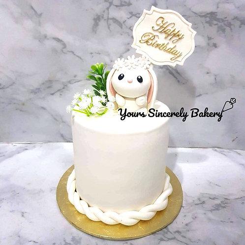 Sweet White Bunny Rabbit Cake