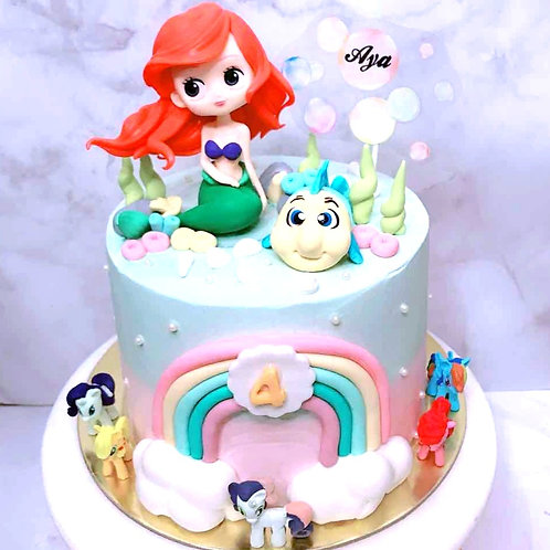 Little Mermaid And My Little Ponies Blue And Pink Rainbow Themed Cake