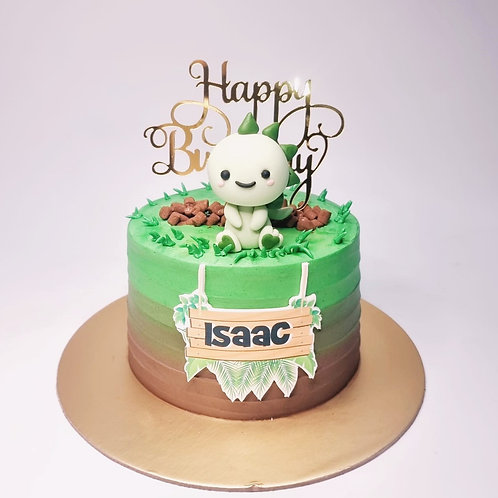Cute Green Dinosaur Theme Money Pulling Cake