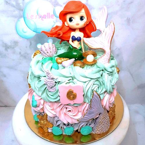 Little Mermaid Ariel Pastel Colours Themed Rosette Cake