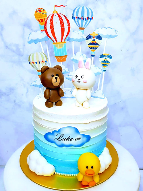Line Bear, Corny, Sally Hot Air Balloons Ombre Blue Cake