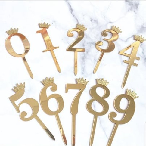 Gold Acrylic Numbers 0-9 Cake Toppers