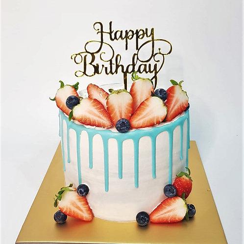 Berries Blue Drip Marble Money Pulling Cake