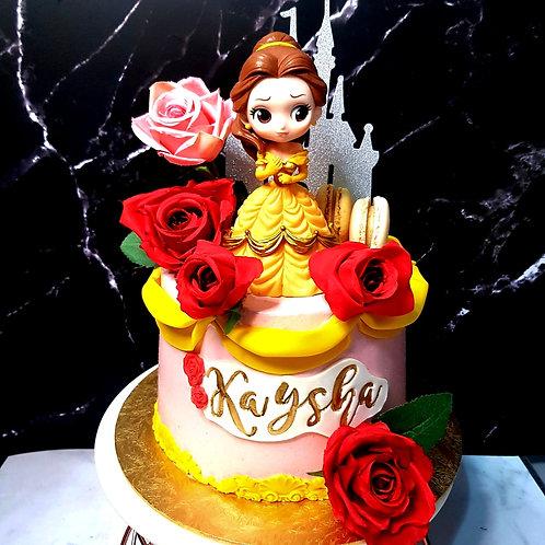 Belle Princess Roses Themed Cake
