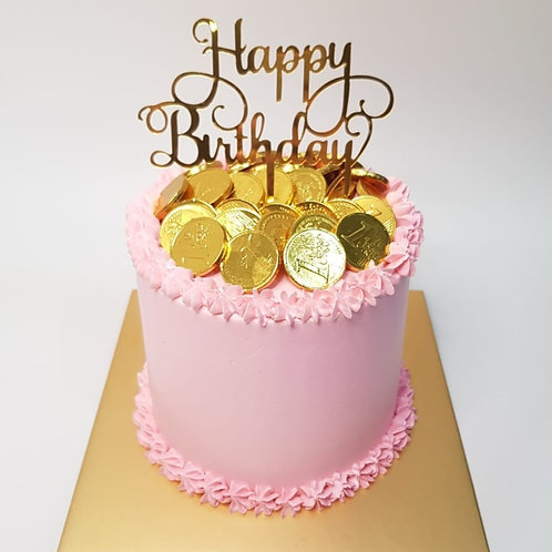 Pink Simple Money Pulling Cake