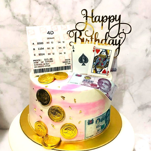 4D Toto Poker Cards Pink Money Pulling Cake