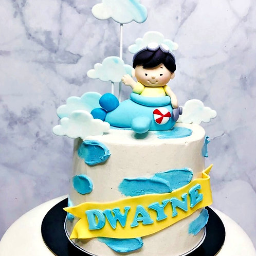 Little boy On Plane Cloud Themed Cake