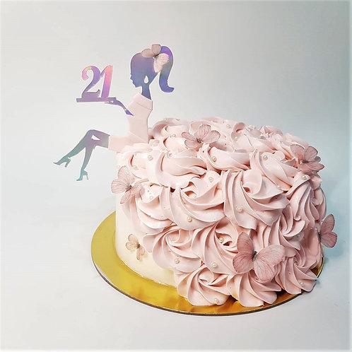 21st Birthday Girl Silhouette Cake