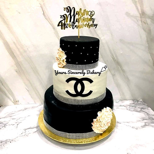 Chanel Wedding Three Tier Cake