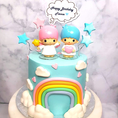 Little Twin Star with Rainbow And Hearts Cake