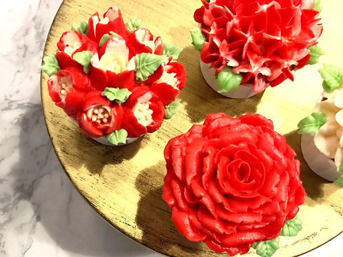 Red Floral Cupcakes (12pcs)