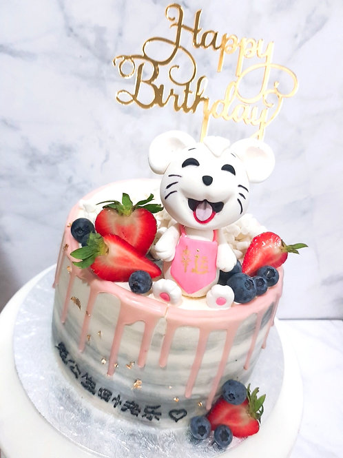 Cute Mouse Rat with Berries Pink Drip Money Pulling Cake