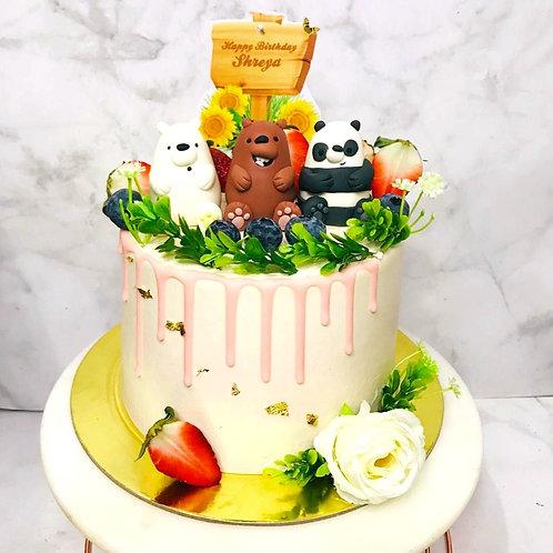 We Bare Bears Rustic Fruit Sweet Pink Cake