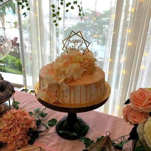 Rose Gold Floral Drip Cake