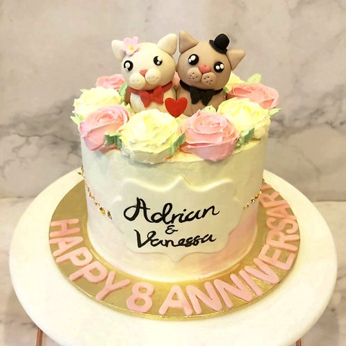 Lovely Kitty Floral Anniversary Cake