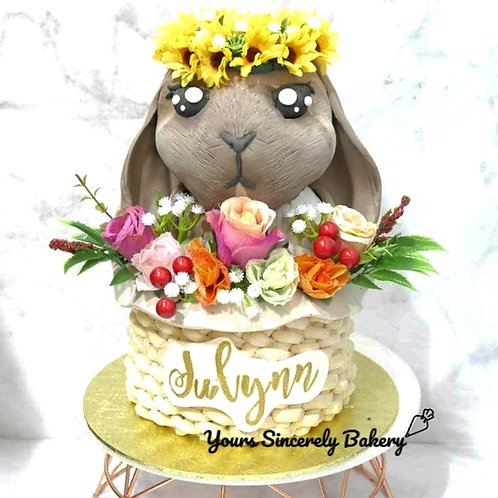 3D Floral Bunny In A Basket Cake